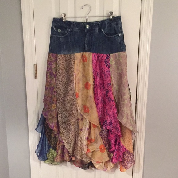 akdmks Dresses & Skirts - Akdmks Jean skirt with silky material, 30
